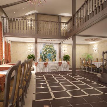 Проект интерьера банкетного зала в ресторане.