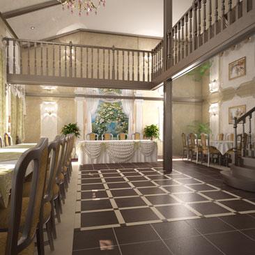 Интерьер банкетного зала - вариант дизайна.
