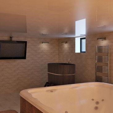 Дизайн сауны в доме с купелью и кедровой бочкой, фото.