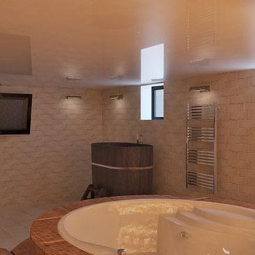 Дизайн интерьера сауны с купелью и бочкой, фото.