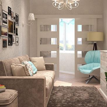 Дизайн гостиной - интересные решения для гостиной с балконом.