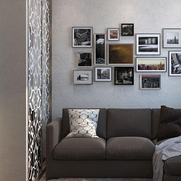 Дизайн гостиной фото - уютная контрастная комната.