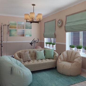 Красивое решение интерьера гостиной - портфолио дизайнеров.