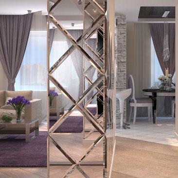 Интересный вариант интерьера - дизайн гостиной с зеркалами на колонне.