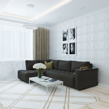 Спокойное цветовое решение - дизайн интерьеров квартир.