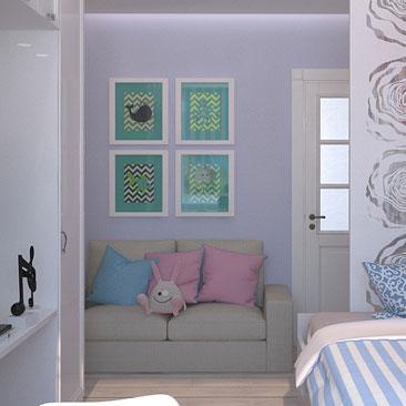 Детский интерьер комнаты девочки - интересный нежный дизайн.