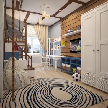 Морская тема в интерьере детской комнаты для двоих мальчиков