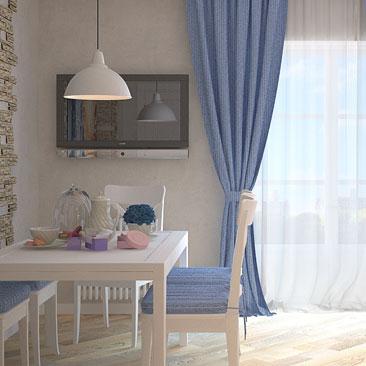 Дизайн интерьера кухни - Прованс, упрощенный стиль.
