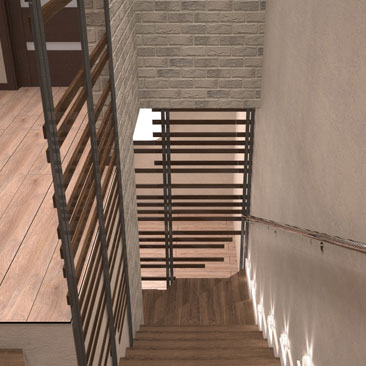 Проектирование лестницы - лестница в серо-бежевом интерьере (дизайн-проект).