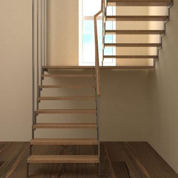 Компьютерное моделирование лестницы в доме на второй этаж - дизайн-проект лестницы.