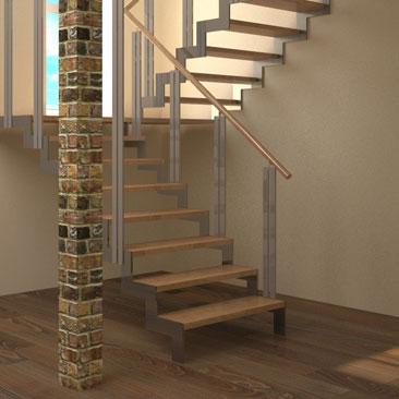 3Д моделирование лестницы в доме на второй этаж - дизайн-проект лестницы.