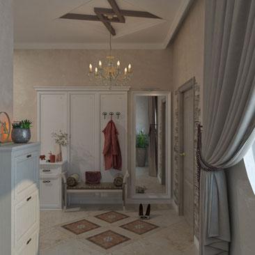 Плитка с панно на полу в интерьерном решении дизайна холла коттеджа.