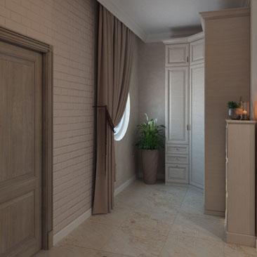 Сдержанные оттенки в дизайне интерьера холла-прихожей частного дома.