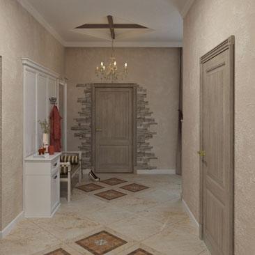 Спокойное цветовое решение в дизайне интерьера холла-прихожей частного дома.