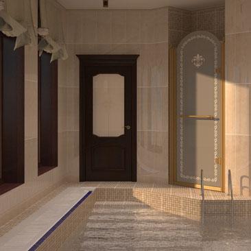 Дизайн интерьера бассейна в большом загородном доме.
