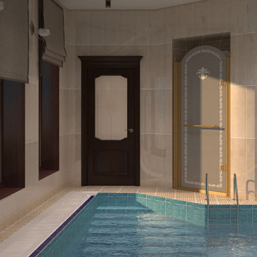 Дизайн интерьера бассейна в пристройке частного коттеджа.