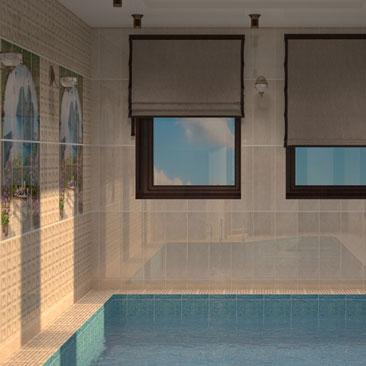 Фото интерьеров бассейнов (готовые дизайн-проекты бассейнов коттеджей).