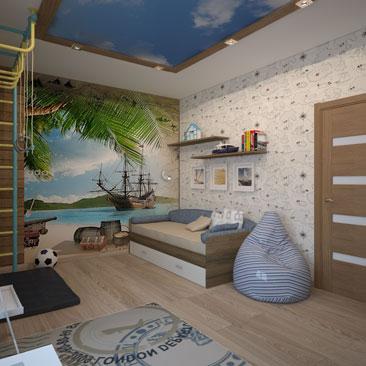 Дизайн интерьера детской комнаты, заказать в Воронеже.