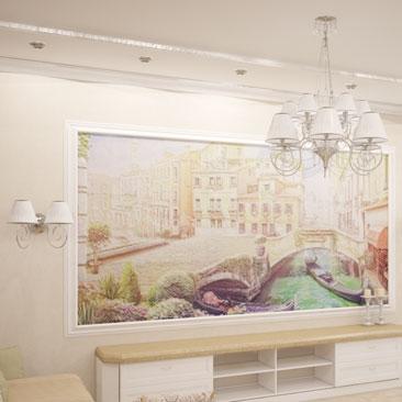 """Интерьер гостиной с фреской """"Венеция""""."""