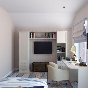 Интерьеры мансардных этажей — фото детских комнат на мансарде.