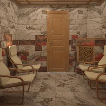 Интерьер соляной комнаты с релаксацией.