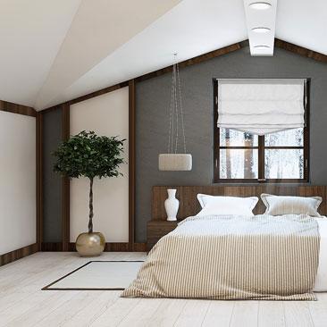 Мансарда – дизайн и интерьер спальни.