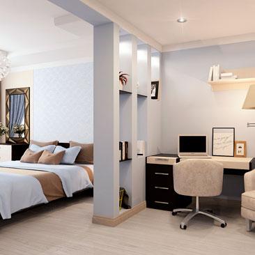 Дизайн интерьеров спален-кабинетов - фото галерея проектов.