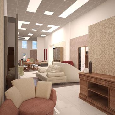 Дизайн шоурума мебельного магазина.