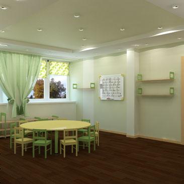 Дизайн комнаты детского московского Монтессори-центра.