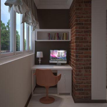 Рабочий - дизайн балкона и лоджии фото.