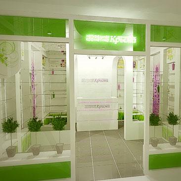 Интерьер бутика натуральной косметики в Ярославле.