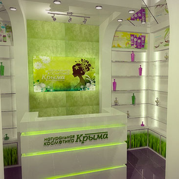 Проект интерьера магазина натуральной Крымской косметики - дизайн, фото.
