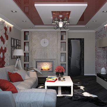 Дизайн современной гостиной с натяжным потолком.