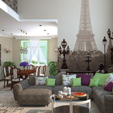 Фотообои с Парижем в интерьере гостиной.