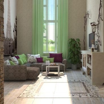 Оформление и дизайн гостиной в парижском стиле.