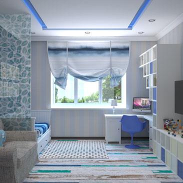 Синий цвет в дизайне детской комнаты.