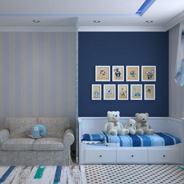 Мине-голубая детская - фото и идеи.