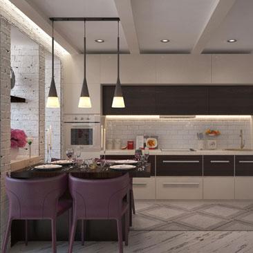 Современный Прованс в дизайн-оформлении кухни-гостиной.