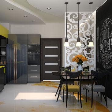 Чёрная грифельная стена в интерьере кухни - фото и идеи.