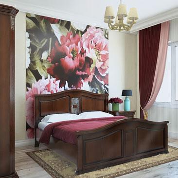Фотообои с цветами в спальне - фото.