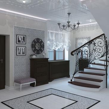 Дизайн интерьера холла в коттедже - портфолио проектов.