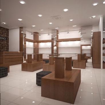 Дизайн обувного магазина высокого класса.