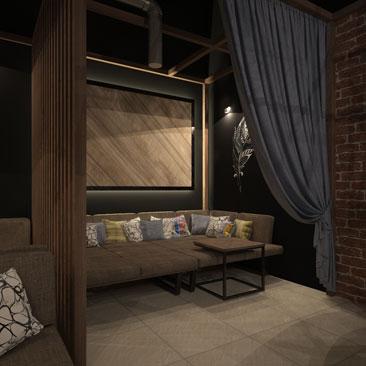Кальянный бар - дизайн-проект интерьера кафе.