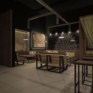 Дизайн кальянного бара-кафе в Москве.
