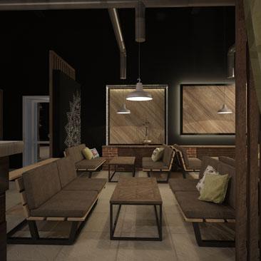 Дизайн интерьера кальянной в кафе в ультра-современном стиле - проект.
