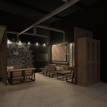 Хай-тек дизайн интерьера бара-кальянной в Москве.