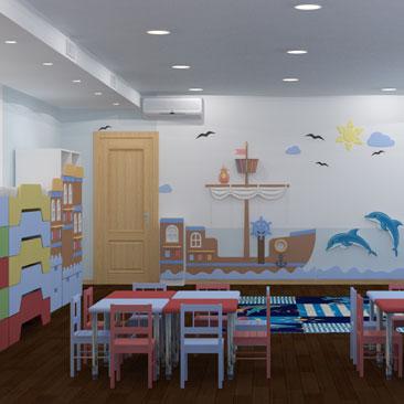 Дизайн группы в детском саду - комната в морском стиле с кораблём и дельфинами.