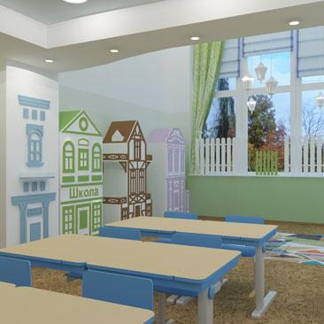 Дизайн интерьера детского сада в Москве.