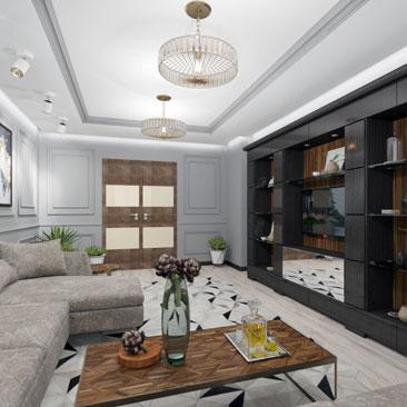 Классический проект гостиной в серых оттенках.