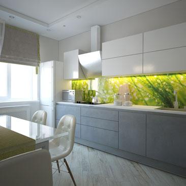 Монохромная кухня - проект дизайна и интерьера.